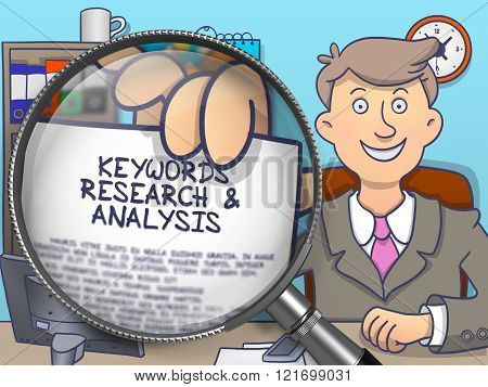 Keywords Research and Analysis through Lens. Doodle Concept.
