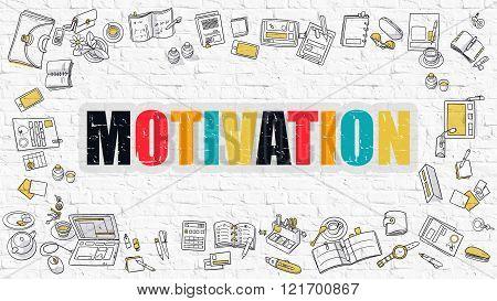 Motivation in Multicolor. Doodle Design.