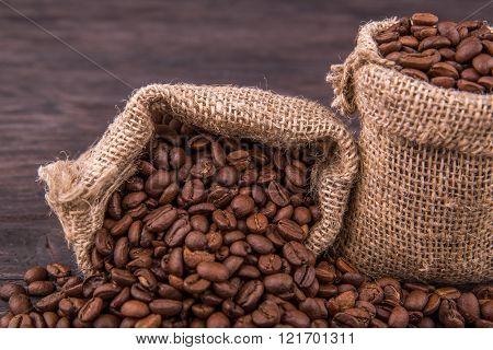 coffee, grains, bag, sacking, food, drink, brown, food, food, board, background, tree, quantity