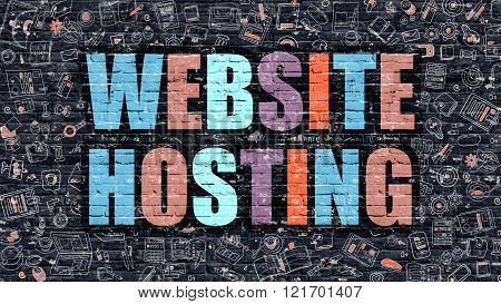 Multicolor Website Hosting on Dark Brickwall. Doodle Style.
