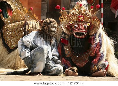 Traditional Bali dance: Monkey and Barong