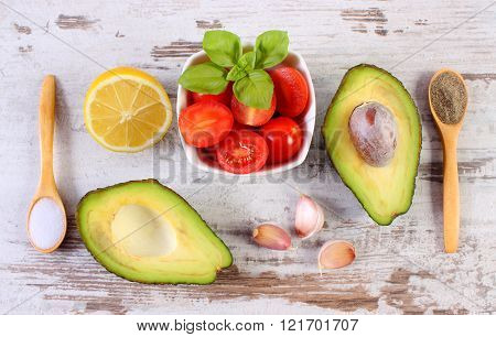 Avocado With Ingredients And Spices To Avocado Paste Or Guacamole, Healthy Food And Nutrition