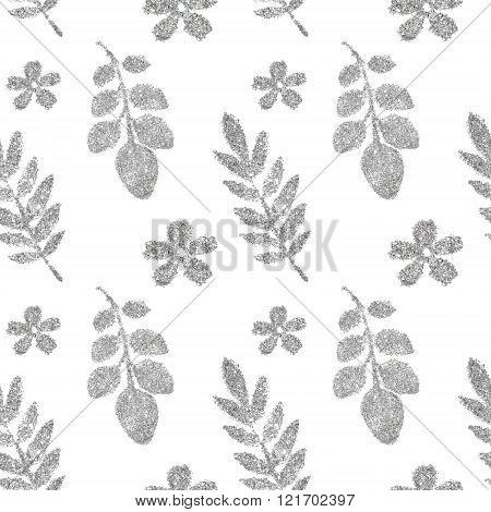 Leaves and flowers of silver glitter on white background, seamless pattern
