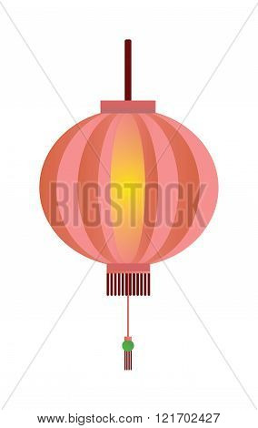 Red chinese lantern flat vector illustration isolated on white.