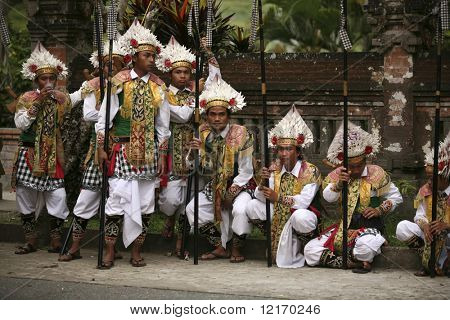 Warriors from Bali in traditional costumes