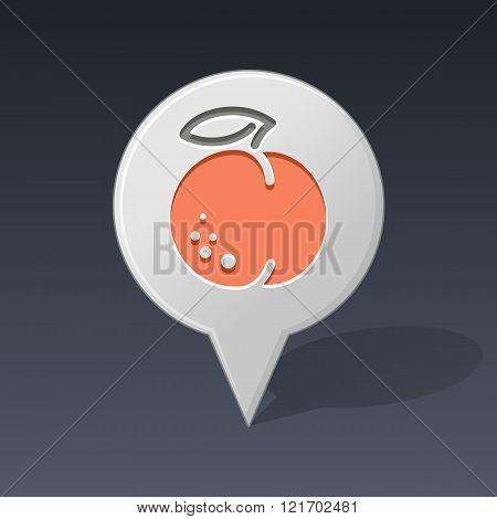 Peach Pin Map Icon. Fruit Vector Illustration