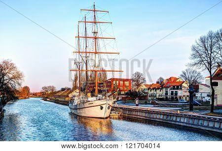 KLAIPEDA, LITHUANIA - 01 MARCH 2016: Ship-restaurant