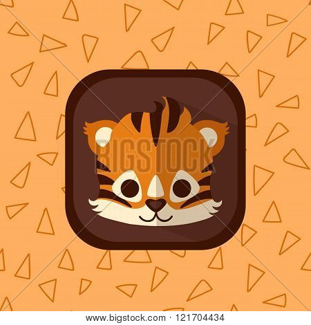 Cute Little Tiger Vector Flat Icon