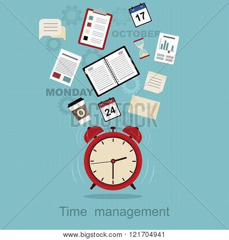 Time management concept planning, organization, working time.