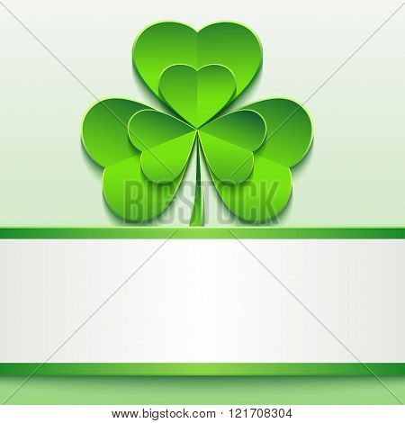 Stylish modern St. Patrick's day card with green 3d leaf clover. Trendy spring background with paper - place for text. Beautiful St. Patrick day wallpaper. Vector illustration