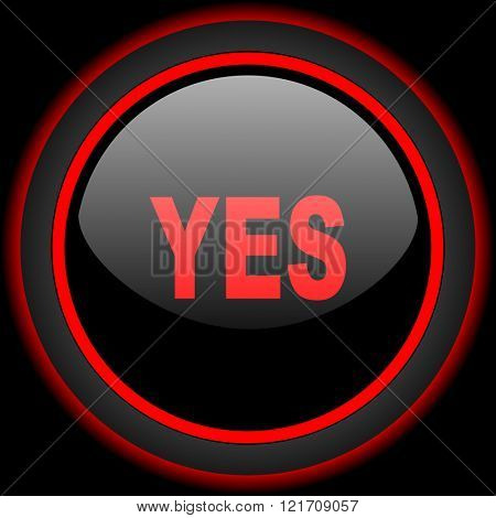 yes black and red glossy internet icon on black background