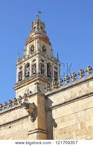 Wall and tower of the mosque in Cordoba - Spain.