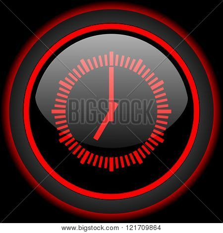 time black and red glossy internet icon on black background