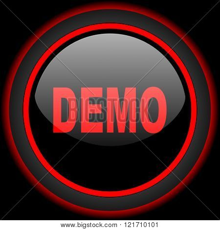 demo black and red glossy internet icon on black background