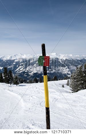 Sign marking the ski piste in the Zillertal Arena, Austria