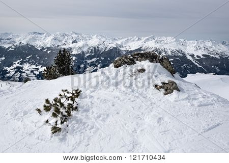 Mountain edge with snow buried tree and rock with in the background the peaks of a mountain ridge  in the Austrian Alps.