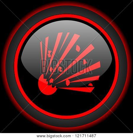 bomb black and red glossy internet icon on black background