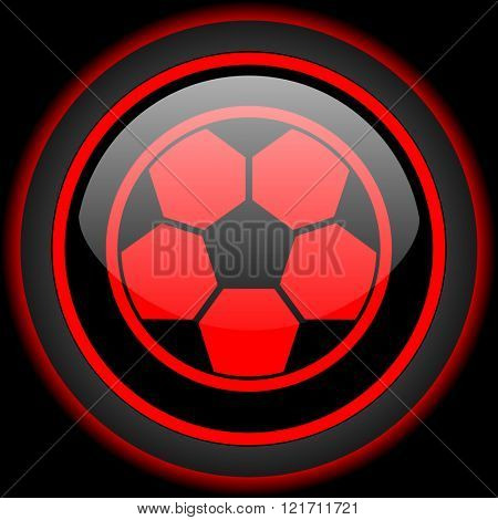soccer black and red glossy internet icon on black background