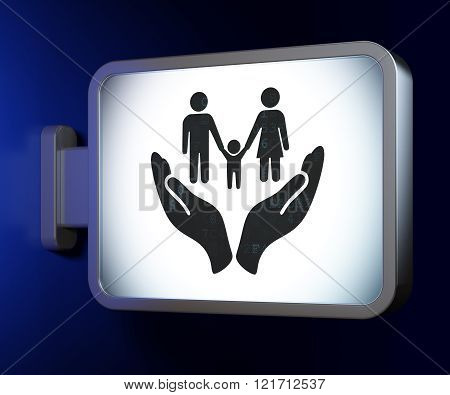 Insurance concept: Family And Palm on billboard background