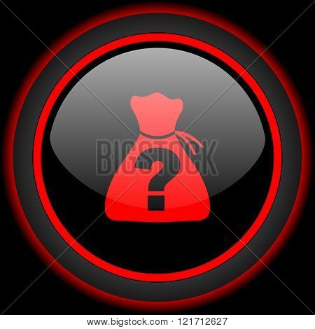riddle black and red glossy internet icon on black background