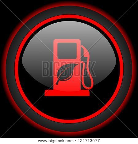 biofuel black and red glossy internet icon on black background