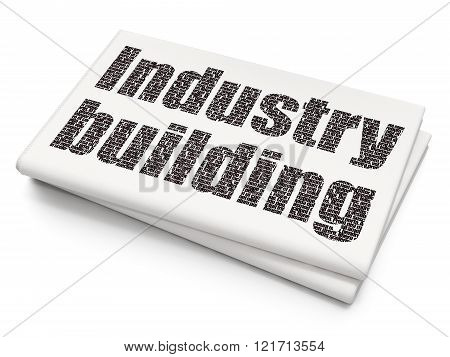 Manufacuring concept: Industry Building on Blank Newspaper background