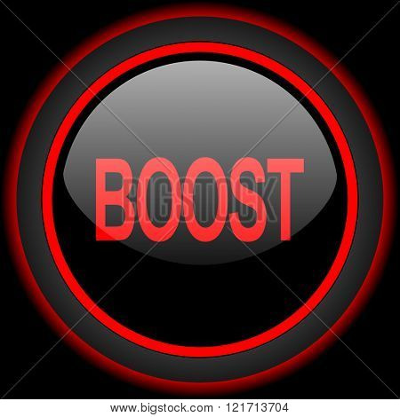 boost black and red glossy internet icon on black background