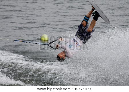 Putrajaya, MALAYSIA 9 November. Olivier Fortamps, Belgium in action in the shortboard/tricks event at the Waterski World Cup Competition in Malaysia. 9 November 2008 at the Putrajaya Lake in Malaysia.