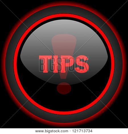 tips black and red glossy internet icon on black background