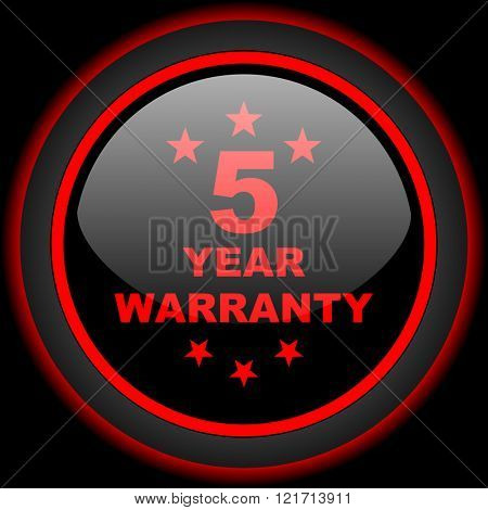 warranty guarantee 5 year black and red glossy internet icon on black background