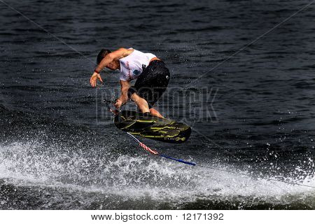 Putrajaya, MALAYSIA 9 November. Jimmy Siemers, USA in action in the shortboard/tricks event at the Waterski World Cup Competition in Malaysia. 9 November 2008 at the Putrajaya Lake in Malaysia.