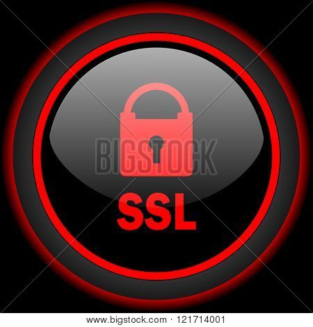 ssl black and red glossy internet icon on black background
