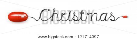 A red computer mouse and the word Christmas formed by the cable