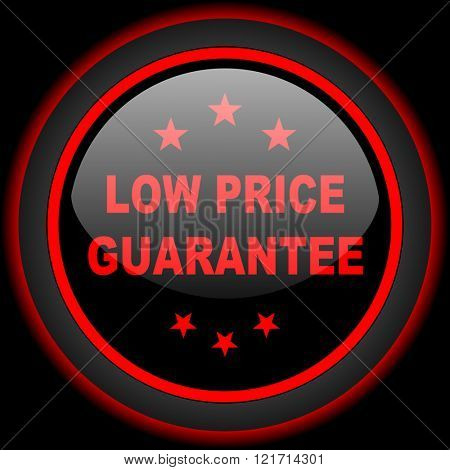 low price guarantee black and red glossy internet icon on black background