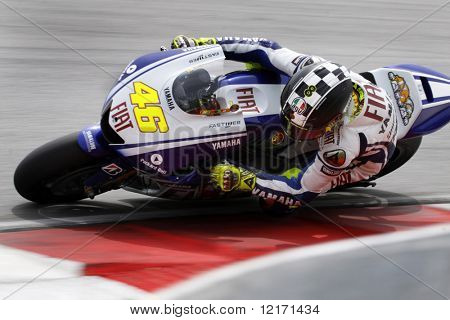 Sepang, MALAYSIA - 7 February: MotoGP rider Valentino Rossi doing a practice run at the MotoGP winter testing sessions held in Malaysia. 7 February 2009 in Sepang International Circuit Malaysia