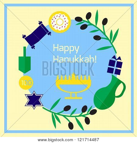 Yellow Greeting hanukkah card with olives and menorah