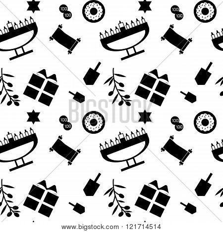 Black and white seamless pattern with main symbols of hanukkah