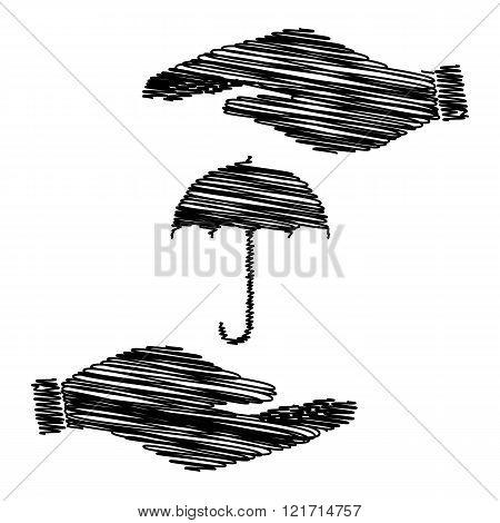 Umbrella sign icon