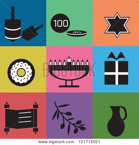 Hanukkah celebration elements on bright background