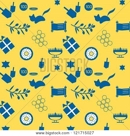 Cute and simple hanukkah pattern with yellow and blue colors