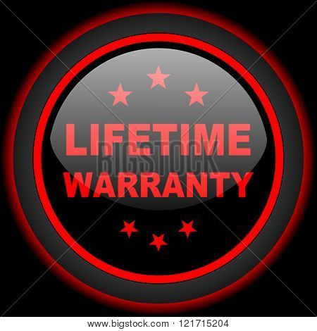 lifetime warranty black and red glossy internet icon on black background
