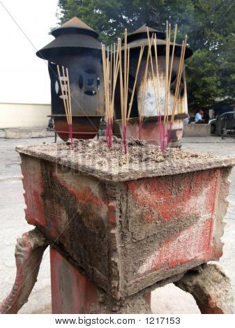 Joss Sticks At Chinese Temple