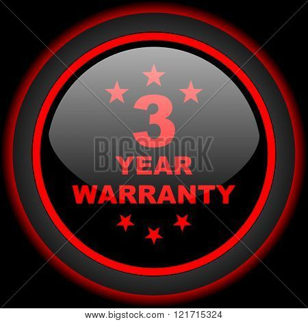 warranty guarantee 3 year black and red glossy internet icon on black background