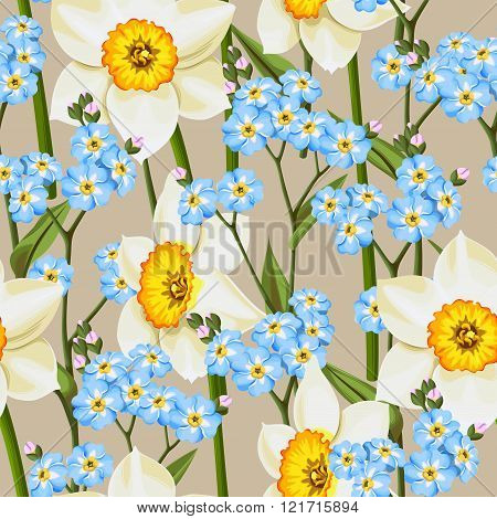 Forget me not and daffodil seamless