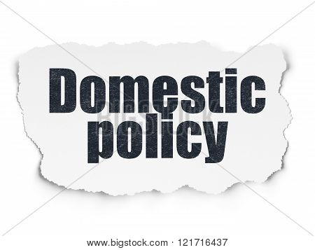 Political concept: Domestic Policy on Torn Paper background