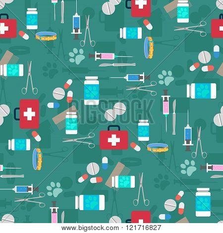 Veterinary set seamless pattern. Vector illustration