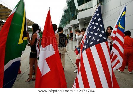 Sepang, MALAYSIA - 23 November: Flags of participating nations at the starting grid of the World A1 GP championship races. 23 November 2008 in Sepang International Circuit Malaysia.