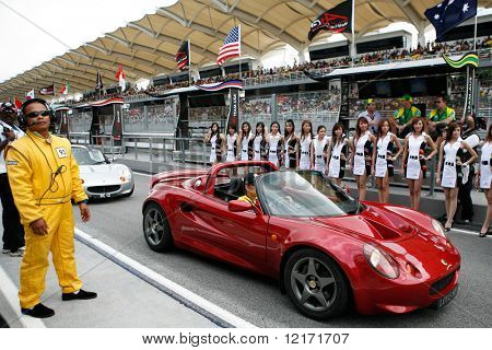 Sepang, MALAYSIA - 23 November: The opening ceremony drive-by of drivers at the World A1 GP championship races held in Malaysia. 23 November 2008 in Sepang International Circuit Malaysia.