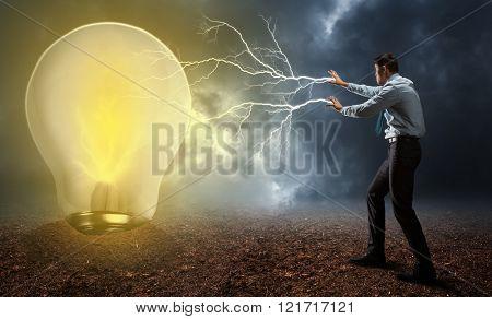 Businessman with magic