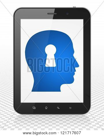 Studying concept: Tablet Pc Computer with Head With Keyhole on display
